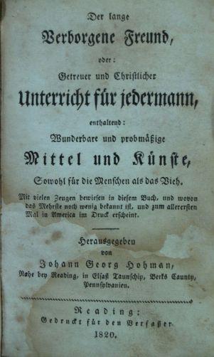 J G Hohmann. Der lange Verborgene Freund. 1820
