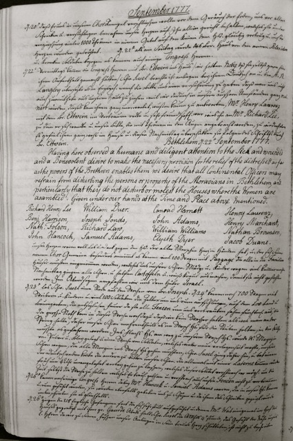 ILL. 4b Single Sisters' Diary, vol. 3: September 1777. Courtesy Moravian Archives at Bethlehem, Pa.