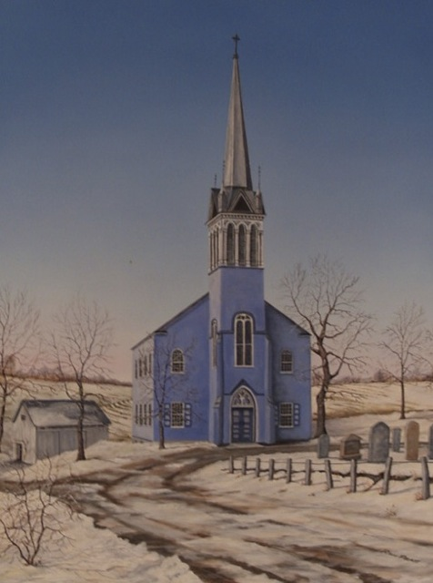 "ILL. 2: The ""Blue Church"" by Ron Pratt. Courtesy of St. Paul's Evangelical Lutheran Church or the ""Blue Church"" of Coopersburg, Pa."