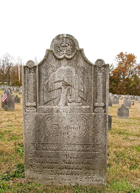ILL. 3: Peter Kneppley (1772-1854) grave marker at Friedens Church. Courtesy of Friedens Evangelical Lutheran Church of Friedensville, Pa.