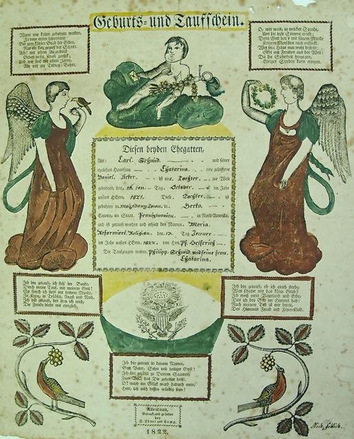 ILL. 6: Maria Schmid Taufschein by Michael Frölich. Heinrich Ebner & Co., 1822. Courtesy of Allentown Art Museum. 2009.006.031.