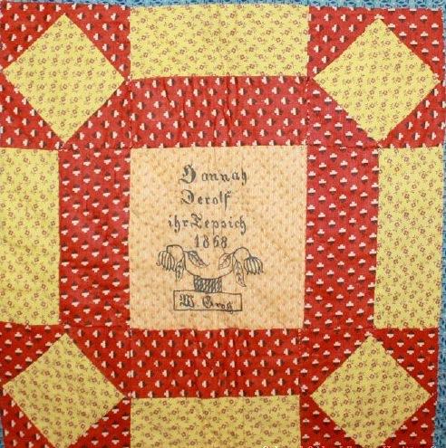 ILL. 1 Hannah Derolf (1847-1923) Fraktur Quilt Owner Block, 1868.Schwenkfelder Library & Heritage Center (2012.23.01), Pennsburg, PA
