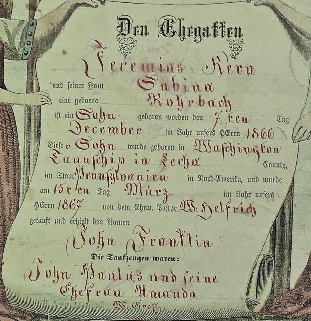 John Franklin Kern Taufschein | Scrivener W Grosz