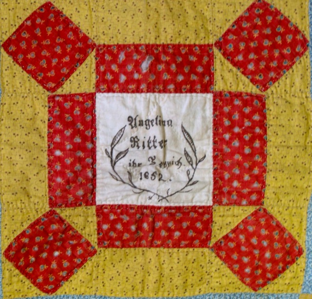ILL. 4a Angelina Ritter (1834-1900) Fraktur Quilt Owner Block, 1852 Goschenhoppen Historians Inc. (2003.05.01), Green Lane, PA. Photo Image © Del-Louise Moyer