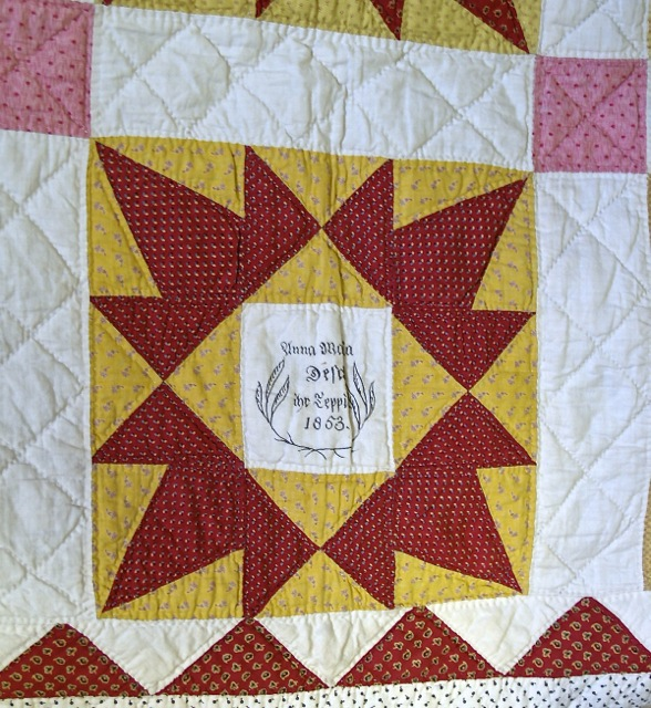 ILL. 5a Anna Maria Desch Fraktur Quilt Owner Block, 1853. Goschenhoppen Historians Inc.b(1994.02.01), Green Lane, PA. Photo Image © Del-Louise Moyer