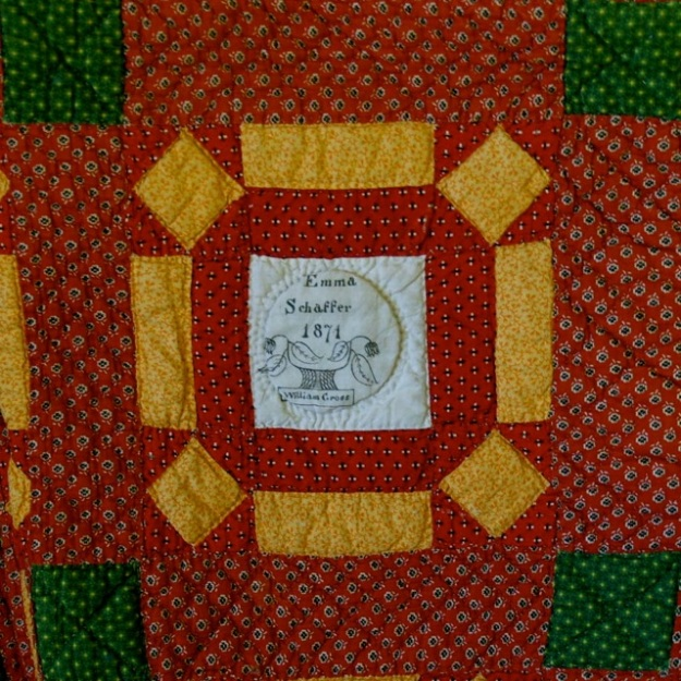 ILL. 6a Emma Schaffer Fraktur Quilt Owner Block, 1871. Goschenhoppen Historians Inc. (2004.06.01), Green Lane, PA. Photo Image © Del-Louise Moyer