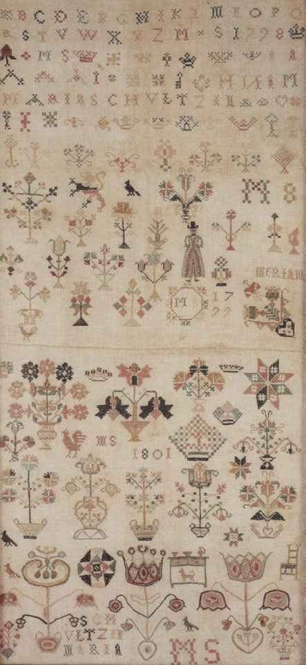 ILL. 1 . Maria Schultz Double Sampler: 1798-1799 (upper sampler) | 1801 (lower sampler) . Courtesy of the Goschenhoppen Historians in Tandy and Charles Hersh. Samplers of the Pennsylvania Germans, 1991, 137.