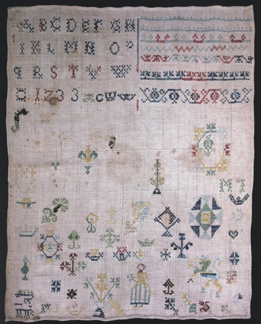 ILL. 2 . (ACWW) Sampler: 1733. Brought by Schwenkfelder Anna Wagner from Saxony to Montgomery County in 1737. Courtesy of Mr. and Mrs. James Oberholtzer in Tandy and Charles Hersh. Samplers of the Pennsylvania Germans, 1991, 49.