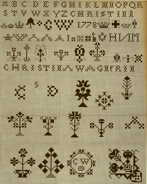 ILL. 3 . Simulation of Christina Wagner's Sampler: 1778. Earliest Pennsylvania Sampler of the Schwenkfelders from Tandy and Charles Hersh. Samplers of the Pennsylvania Germans, 1991, 136.