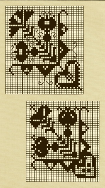 ILL. 5 . Diagram of Corner Motifs as found (upper example) on a Swiss or German Sampler at the St. Gallen Swiss Textilmuseum, Inv. No. 20046, and (bottom example) on Christina Wagner's, two nieces Maria and Christina Schultz's and her cousin Regina Hübner's samplers in Tandy and Charles Hersh. Samplers of the Pennsylvania Germans, 1991, 115.