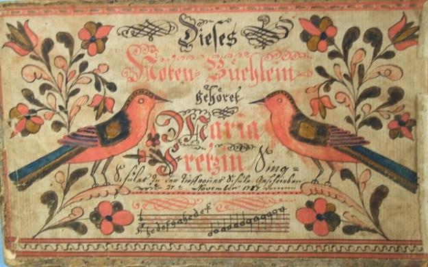 ILL. 6a Maria Fretz Tune Booklet, 27 November 1787. Courtesy: Borneman Collection FLP at Philadelphia PA