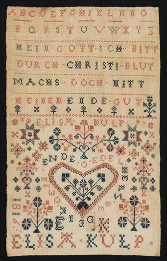 "Fig. 9 Elisa Kulp 1816 Sampler, Private Collection, in Lisa Minardi. ""A Colorful Folk: Pennsylvania Germans And The Art of Everyday Life,"" incollect interiors + collections, Fig. 5. Photograph by Winterthur Museum, Garden & Library, Wilmington, DE, https://www.incollect.com/articles/a-colorful-folk-pennsylvania-germans-and-the-art-of-everyday-life"