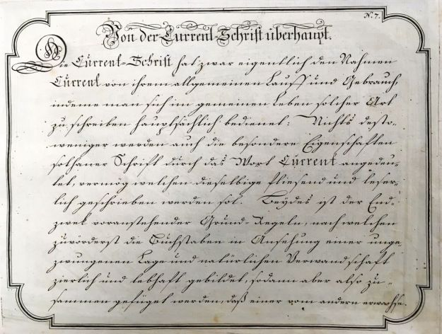 "Fig. 2 Johann Michael Schirmer. ""Von der Current=Schrift überhaupt"" or ""Concerning Current Script"" in Geöfnete Schreib=Schule ....Copperplate 7. Courtesy of Winterthur Museum Library Collection of Printed Books and Periodicals, Wilmington, DE Z43 S33."