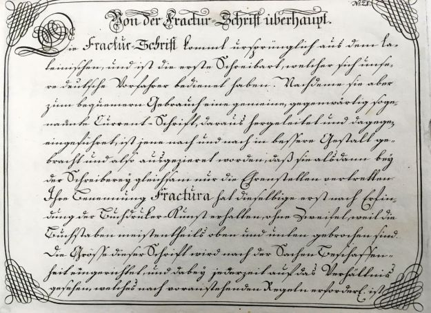 "Fig. 4 Johann Michael Schirmer. ""Von der Fractur=Schrift überhaupt"" or ""Concerning Fractur Script"" in Geöfnete Schreib=Schule.... Copperplate 21. Courtesy of Winterthur Museum Library Collection of Printed Books and Periodicals, Wilmington, DE, Z43 S33."