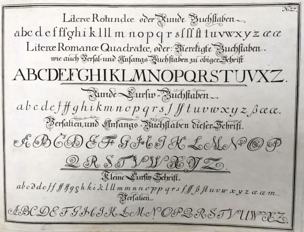 "Fig. 5 Johann Michael Schirmer. ""Literae Rotundae...Literae Romanae Quadratae"" or ""Round Letters...Square Capitals"" in Geöfnete Schreib=Schule.... Copperplate 27. Courtesy of Winterthur Museum Library Collection of Printed Books and Periodicals, Wilmington, DE, Z43 S33."