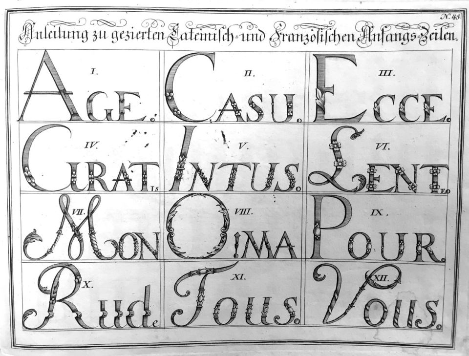 "Fig. 6 Johann Michael Schirmer. ""Anleitung zu gezierten Lateinisch=und Französischen Anfangs=Zeilen"" or ""How to Decorate Opening Lines Written in Latin and French"" in Geöfnete Schreib=Schule.... Copperplate 45. Courtesy of Winterthur Museum Library Collection of Printed Books and Periodicals, Wilmington, DE, Z43 S33."
