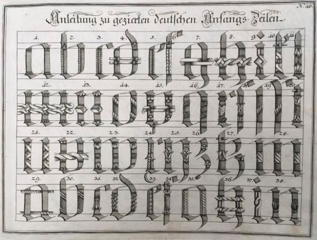 "Fig. 7 Johann Michael Schirmer. ""Anleitung zu gezierten deutschen Anfangs=Zeilen"" or ""How to Decorate Opening Lines Written in German"" in Geöfnete Schreib=Schule.... Copperplate 46. Courtesy of Winterthur Museum Library Collection of Printed Books and Periodicals, Wilmington, DE, Z43 S33."