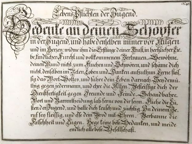 "Fig. 8 Johann Michael Schirmer. ""Lebens Pflichten der Jugend"" or ""Youth's Lifelong Obligaions"" in Geöfnete Schreib=Schule....Copperplate 40. Courtesy of Winterthur Museum Library Collection of Printed Books and Periodicals, Wilmington, DE, Z43 S33."