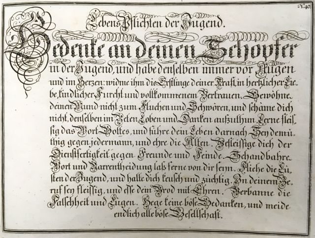 """Fig. 8 Johann Michael Schirmer. """"Lebens Pflichten der Jugend"""" or """"Youth's Lifelong Obligaions"""" in Geöfnete Schreib=Schule....Copperplate 40. Courtesy of Winterthur Museum Library Collection of Printed Books and Periodicals, Wilmington, DE, Z43 S33."""