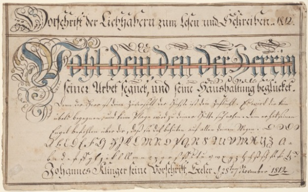 Fig. 9 Wilhelmus Faber Vorschrift for Johannes Klinger, 1812. Courtesy of the Henry Stauffer Borneman Collection at the Free Library of Philadelphia, (FLP) frk00359.