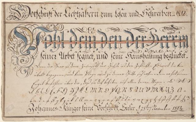 Fig. 9 Wilhelmus Faber Vorschrift for Johannes Klinger, 1812. Courtesy of the Henry Stauffer Borneman Collection at the Free Library of Philadelphia, (FLP) frk00359.