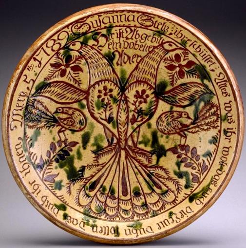 Susannah Steltz Slipware/Sgraffito Dish  by Georg Hübner, 1789