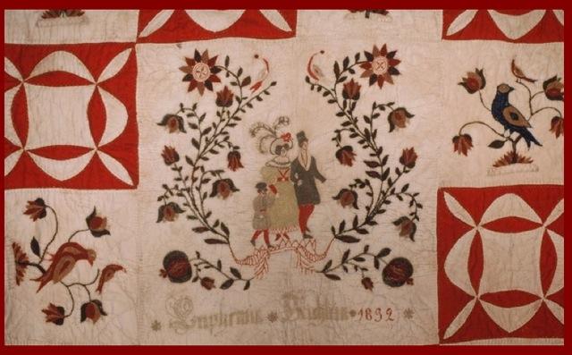 """Schleifer-Kichlein Family Fraktur Quilt """"Euphemia Kichlein 1832"""" Owner Block"""