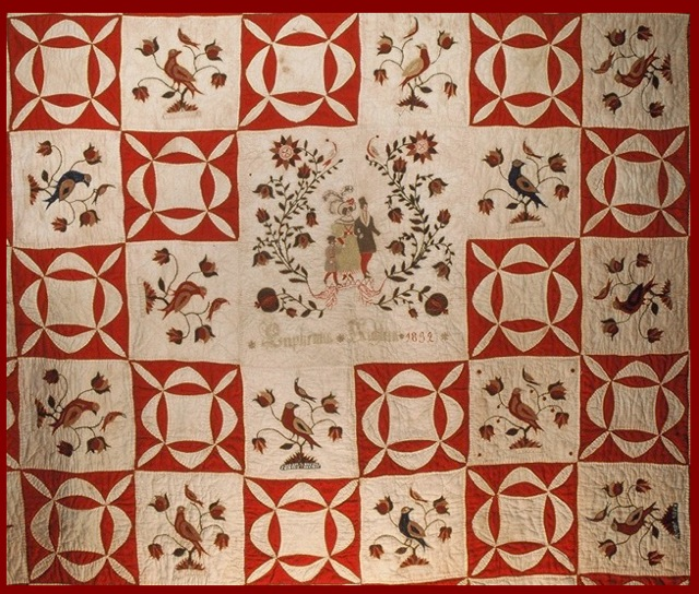 "Schleifer-Kichlein Family Fraktur Quilt ""Euphemia Kichlein 1832"" Close-up"