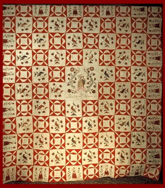"""Scheifer-Kichlein Family Fraktur Quilt """"Euphemia Kichlein 1832"""""""