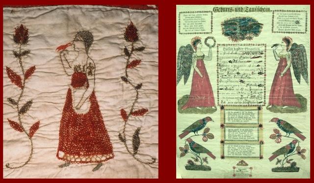 """Schelifer-Kichlein Family Fraktur Quilt """"Euphemia Kichlein 1832"""" Angel Block     Heinrich Ebner Taufschein ca. 1833"""