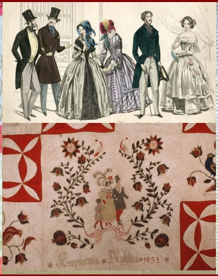 """Trendsetting 1820 - 1830 Clothing Embroidery on Schleifer-Kichline Fraktur Quilt """"Euphemia Kichlein 1832"""""""