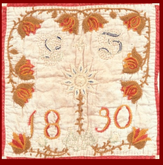 "Schleifer-Kichlein Family Fraktur Quilt ""E S 1830"" Ownership Block"