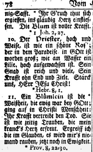 Fig. 3. Neu=Eingerichtetes Gesang=Buch... Germantown, Pa.: Christoph Saur, 1762. Hymn 115, Verse 11, 78. Ein Blümlein ist die Weißheit... http://bit.ly/2gGF5yC.