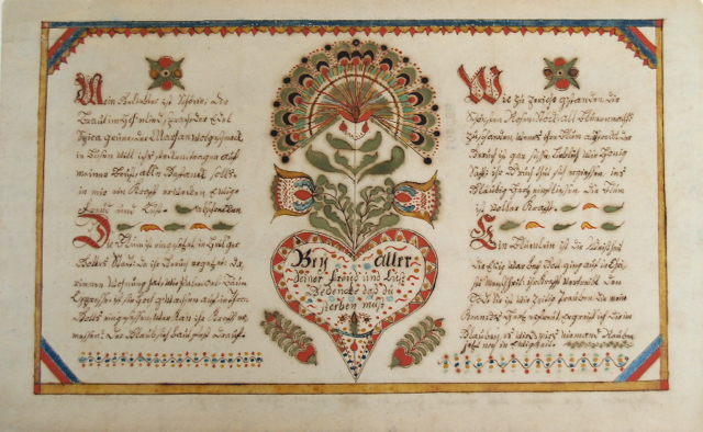 "Fig. 4 ""Ein Blümlein ist die Weisheit ..."" by Susanna Hübner. New Years Day 1811 for her nephew Jacob Hübner. Courtesy of the Schwenkfelder Libary & Heritage Center. 1958.02.29. Photo by D L Moyer"