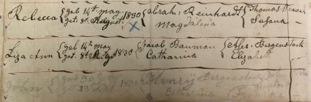 Fig. 3. John E. Berkenstock Birth & Baptismal Entry [in pencil at bottom]. Church Records for Reformed Church of the Blue Church at Coopersburg, Pa., p. 4. Courtesy, UCC Faith Church, Center Valley, Pa.