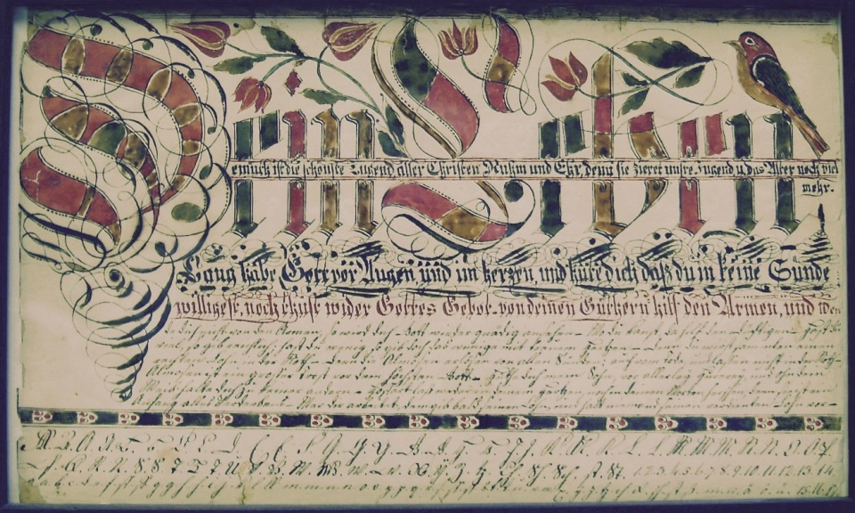 Fig. 4. Dein Leben Lang habe Gott vor Augen…Vorschrift. Courtesy of Reading Public Museum, Reading, Pa., 39.117.1.