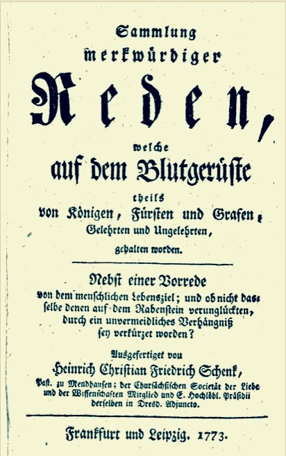 Fig. 6 C. F. Pacius Sermon in H. C. F. Schenk's Collection of Gallows Sermons, Printed in Frankfurt & Leipzig, 1773.
